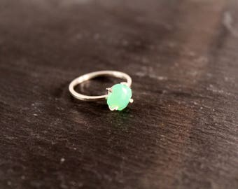 Chrysoprase Cushion Cut Alternative Engagement Wedding Bridal Prong Setting Ring (Gold Sterling Silver Rose Gold Green Ring Gifts Under 50)