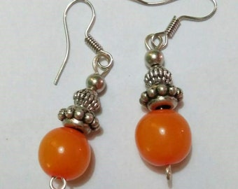 Round Orange with Silver Design Earrings