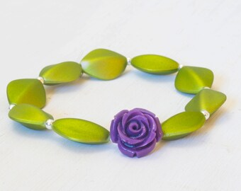 Green and Purple Flower Stretchy Bracelet