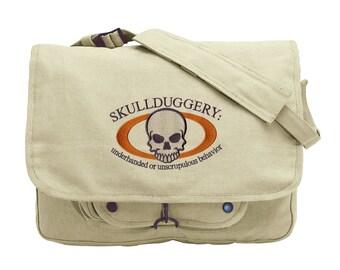 Skullduggery Embroidered Canvas Messenger Bag