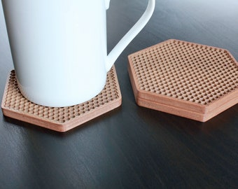 3D Printed Coasters, Honeycomb Design Drink Coasters for Coffee Table or Bar, Changeable Colors