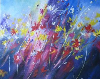 Flower meadow in storm