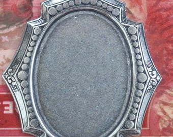 25 X 32mm Gothic cameo setting with hoop, Sterling Silver Finish, Pendants, Brass Stampings Made in the USA
