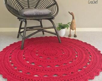 Crochet Doily Rug TShirt Yarn 120cm