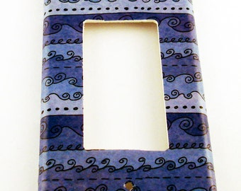 Rocker Light Switch Cover Switchplate  in  Funky Blue Waves  (093R)