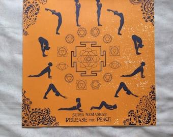 Yoga sun salutation screenprint floral blockprint asana yantra chakra poster