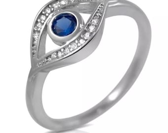 925 Sterling Silver CZ Blue  Evil Eye Stackable CZ Ring  Delicate Ward Trendy Fashion Ring Micro Pave White Cubic Zirconia