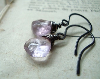 Amethyst Briolette Earrings - Pastel Lavender Oxidized Wire Wrapped Sterling Silver February Birthstone Gifts Under 40 Mothers Day