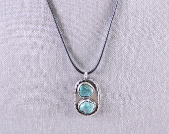 Double Turquoise Sterling Silver Necklace