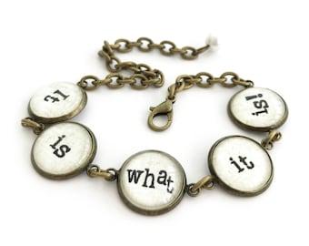 It is what it is Antique Brass Bracelet