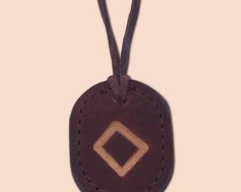 Inguz - Ingwaz - The Rune of Peace and Harmony - Asatru Jewelry - Leather Rune Pendant - Rune Amulet Necklace - Viking Rune Necklace