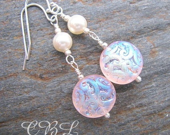 CLEARANCE - Pink Iridescent Glass Brocade Beads and Crystal Pearl Earrings