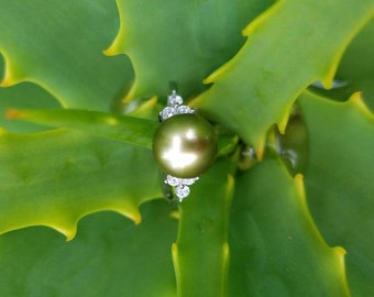 Adjustable Pistachio Tahitian pearl ring