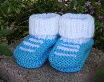 Hand Knit baby booties - Top Striper Booties