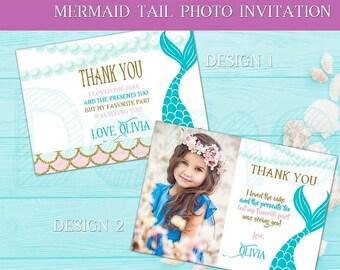 50%Off Mermaid Tail Thank You Card, Mermaid Party, Mermaid Thanks, Mermaid Gold, Tail, Mermaid Girl, Mermaid Birthday, Mermaid Baby, Girl