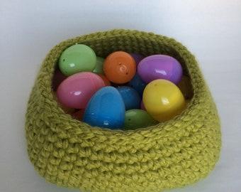 Large Square Base Crochet Basket/Leaf Green