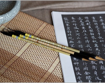 Free Shipping Chinese Calligraphy Material  Pure Weasel Hair Outline Brush Set (Large,Medium,Small) - Bamboo Handle - 0039LMS