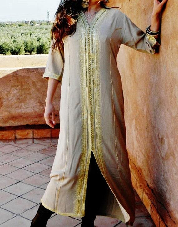 Autumn Winter Beige Caftan Kaftan - Naima-loungewear,resortwear,spa robe, Birthdays,Honeymoon or Maternity Gifts, Ramadan, Eid