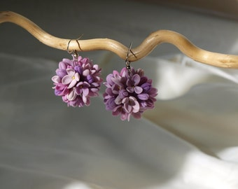 Gold Plated Lilac Earrings, Flower Jewelry, Dangle Earrings, Wedding Earrings, Bridesmaid Earrings, Silver Plated Earrings