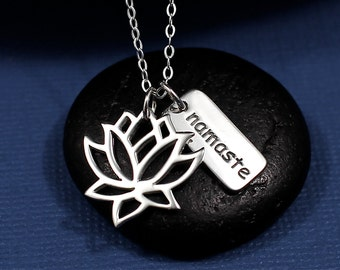 Lotus Necklace, Lotus Flower Necklace Sterling Silver, Lotus Flower Jewelry, Namaste Necklace, Namaste Jewelry, Yoga Necklace, Yoga Jewelry