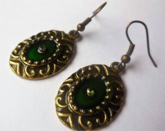 Earrings Dangles Brass Green