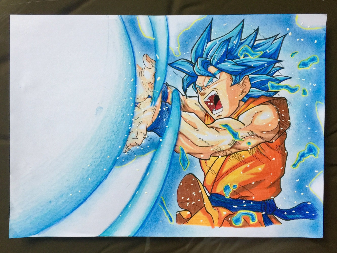 Goku Super Saiyan Blue Kamehameha Hand Illustration