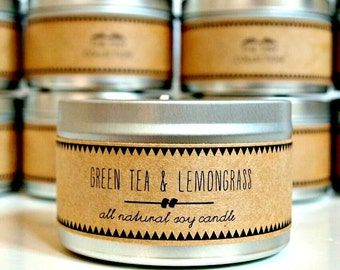 GREEN TEA & LEMONGRASS // Soy Candle. Natural Candle. Scented Candle. Eco Friendly. Vegan Friendly. Custom Gift. Natural Gift.