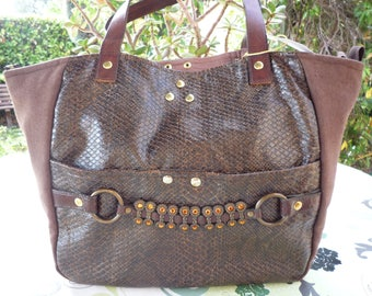 Wool leather handles and Brown faux reptile handbag