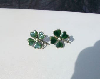 Vintage Four Leaf Clover Shamrock St Patricks Day Screw On Earrings