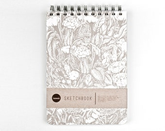 Sketchbook with 3 different types of paper: recycled white, watercolour & craft brown pages. Art Journal with a Hand Screen printed cover!