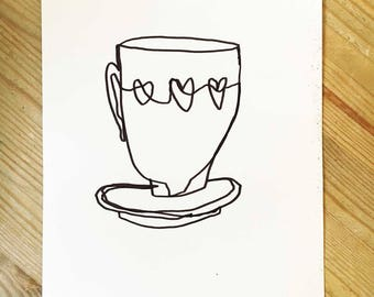 Cup Full Of Love | A5 Original Drawing | Super Cute Heart Warming Illustration Gift
