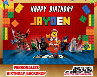 Lego Movie , Lego Movie Backdrop , Lego Movie Birthday Backdrop , Lego Movie Printable Backdrop , Digital File , Party Background