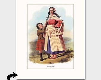 "Matheson Family Art Print w/Mat (Scottish Gift for Her, Mother and Child, Cottage Decor)  Matted Scotland Art --- ""Clan Matheson"" No. 172"
