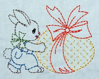 Vintage Easter Bunny with Egg Machine Embroidery Design 2 sizes, 4x4 or 5x7 colorwork linework, INSTANT DOWNLOAD. girl, boy, toddler, baby