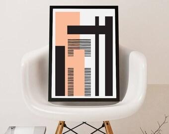 GEO LANDSCAPE pink // Poster Abstract art, 24x36, minimalist art, geometric print, scandinavian style, Nordic design, black and white