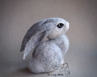 Needle felted HARE SCULPTURE by The Lady Moth - long eared grey hare - UK