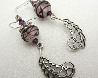Lampwork Earrings Deep Purple Swirl Earrings Glass Bead Earrings Dangle Drop Earrings Dangle Silver Plume FeatherCharm SRAJD Handmade