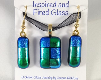 Blue and Green Dichroic Glass Pendant and Earring Set