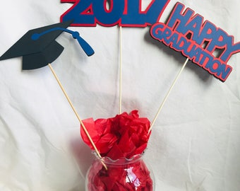 Graduation centerpieces, 5 pieces, Class of 2018, your colors, you pick year