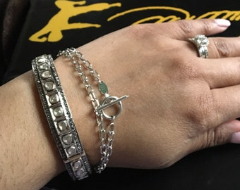 14K White gold chain link rectangle elongated link round toggle bracelet choker necklace unisex jewelry