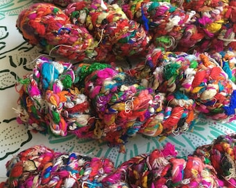 Recycled Silk Cording, Rope, Multicolor, Super Bulky, Handspun, 3.5 oz / 100 grams, 12 yards, Upcycled, Knit, Crochet, Weave