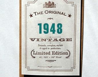 Vintage Celebrations: 70th Seventieth 1948, 47, 46 birthday letterpress greetings card invitation