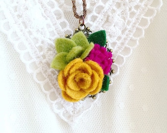 Flower pendant necklace |Quirky necklaces with felt flowers | autumnal necklace | gifts under 10 | flower accessories