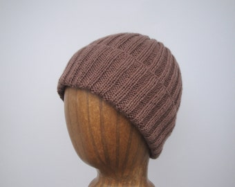 100% Cashmere Hat, Hand Knit, Loose Ribbed Slouch Beanie, Natural Brown, Gift for Him Her, Men Women, Roll Brim Cap