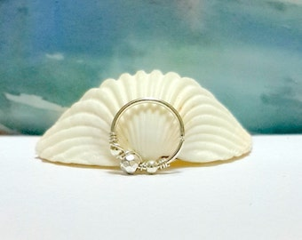 Sterling Silver Beaded Helix Earring -  Helix hoop - Silver Cartilage Piercing - Minimal Helix Jewelry - 16-22 Gauge- 7-12mm Inner Diameter