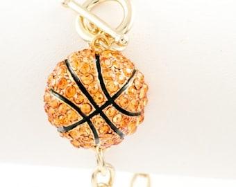 Basketball Paved Rhinestone Charm Bracelet