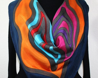 Square Silk Scarf Blue, Purple, Orange Hand Painted DREAMING IN COLOR, offered in 2 Sizes. Silk Scarves Colorado. Hand Dyed. Birthday Gift