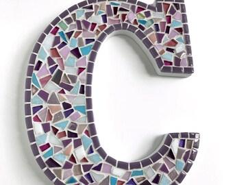 "Custom Mosaic Letters, Style: Purple Confetti, 9"" Mosaic Letter Wall Decor"