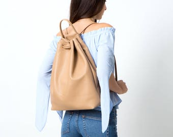 Leather backpack shoulder bag adjustable beige