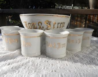 Tom and Jerry Eggnog Bowl with 6 Mugs